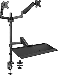 VIVO Black Dual Monitor Sit-Stand Height Adjustable Workstation, Standing Desk Mount with Pneumatic Spring | Holds 2 Screens up to 32 inches (STAND-SIT2B)