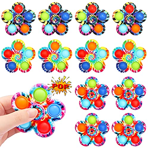 SoulLife Pop Fidget Spinner, Push Bubble Spinner Simple Fidget Popper Spinners for Stress Relief , Fidget Toy with Press Bubble for Adults Kids (12 Pack)