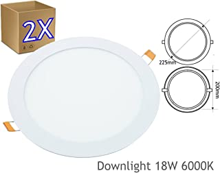 JANDEI - Pack 2 x Downlight LED Extraplano Redondo Blanco, 18W (1440 Lm)