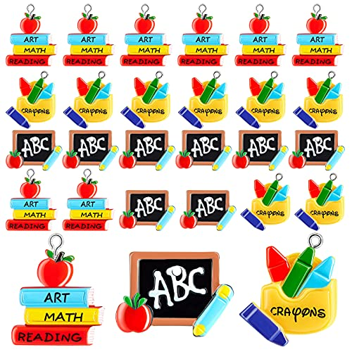30 Pieces School Teacher Charms Teacher Jewelry Student Charms Book Charms Crayon Charms Small Teacher Jewelry Charms for Jewelry Making Bracelets Charms Bulk Earrings Necklaces Supplies