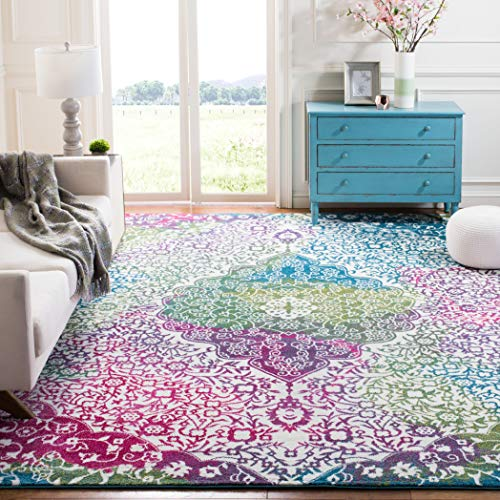 Safavieh Water Color Collection WTC672F Ivory and Fuchsia Area Rug, 5'3' x 7'6'