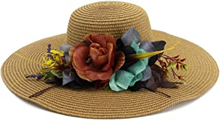 HAOHAO 2019 New Women's Beach Fashion Flower Straw Hat Umbrella Panama Hat Casual Fashion Caps Accessories (Color : Coffee, Size : 56-58CM)