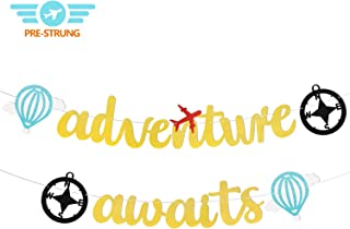 Adventure Awaits Banner, Bon Voyage Travel Themed Party Decorations, Retirement/Baby Shower/Graduation/Birthday Banner, Moving/Relocation/Wedding/Bachelorette/Job Change/Farewell/Career Change/Up The