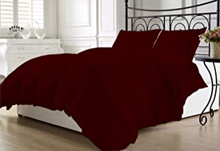 Namira Bedding 8PC-Super Soft Quilt Goose Down Comforter 300 GSM 500 Thread Count with Duvet Set and Sheet Set 100% Egyptian Cotton Solid(King,Burgundy)