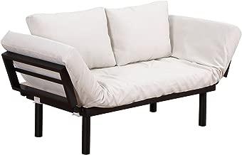 HOMCOM Convertible 5-Position Futon Daybed Lounger Sofa Bed - Black/Cream White