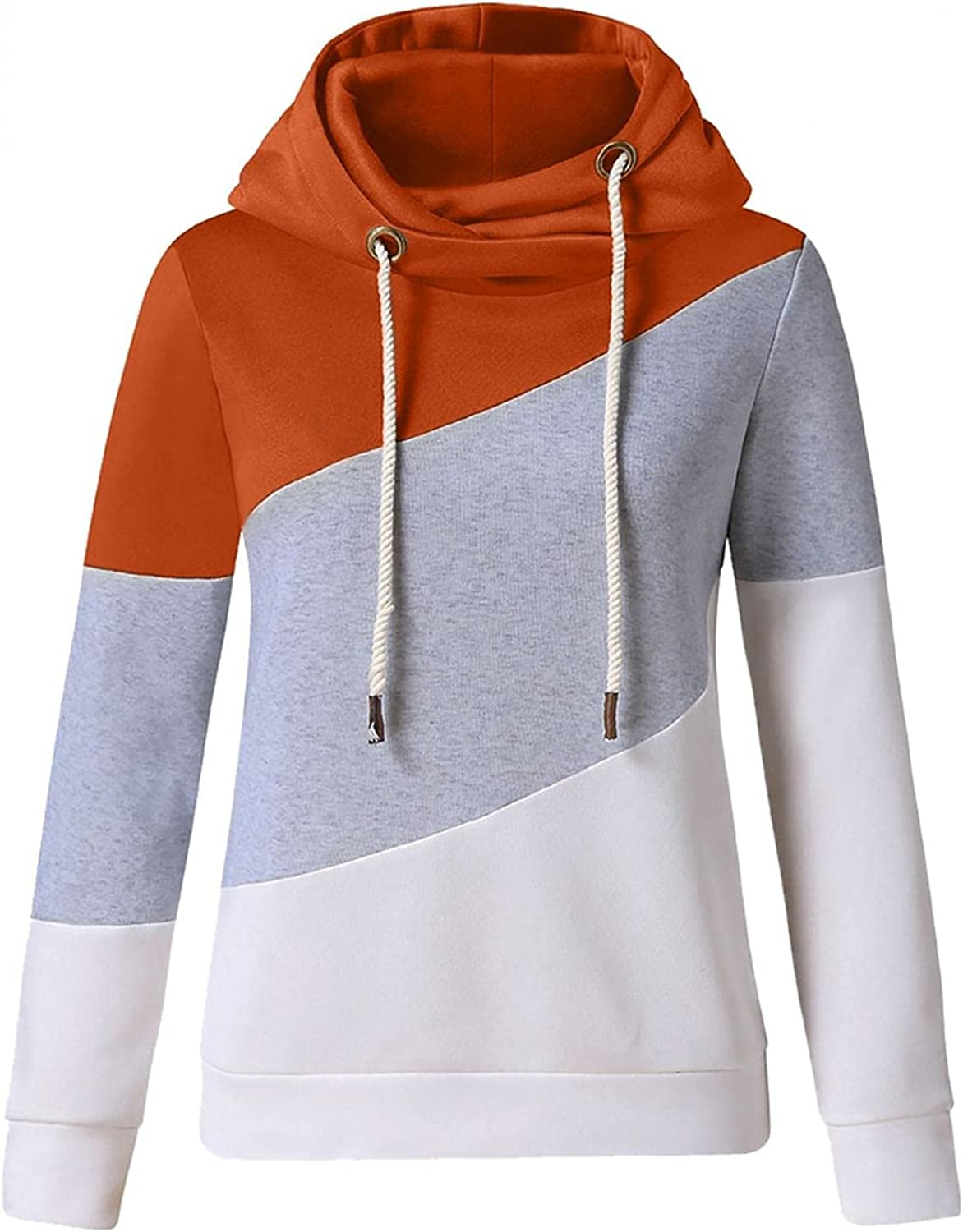 POLLYANNA KEONG Womens Hoodies Plus Size Color Block Long Sleeve Sweatshirts Loose Casual Pullover Tops Blouse