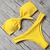 de Baño para Mujer Encaje Sexy Bikin,El Bikini de la Tapa del Tubo de Las Mujeres, Traje de baño Atractivo del Color sólido de Dos Piezas-Yellow_L,Mujer Bikinis Sexy Micro Traje De Baño