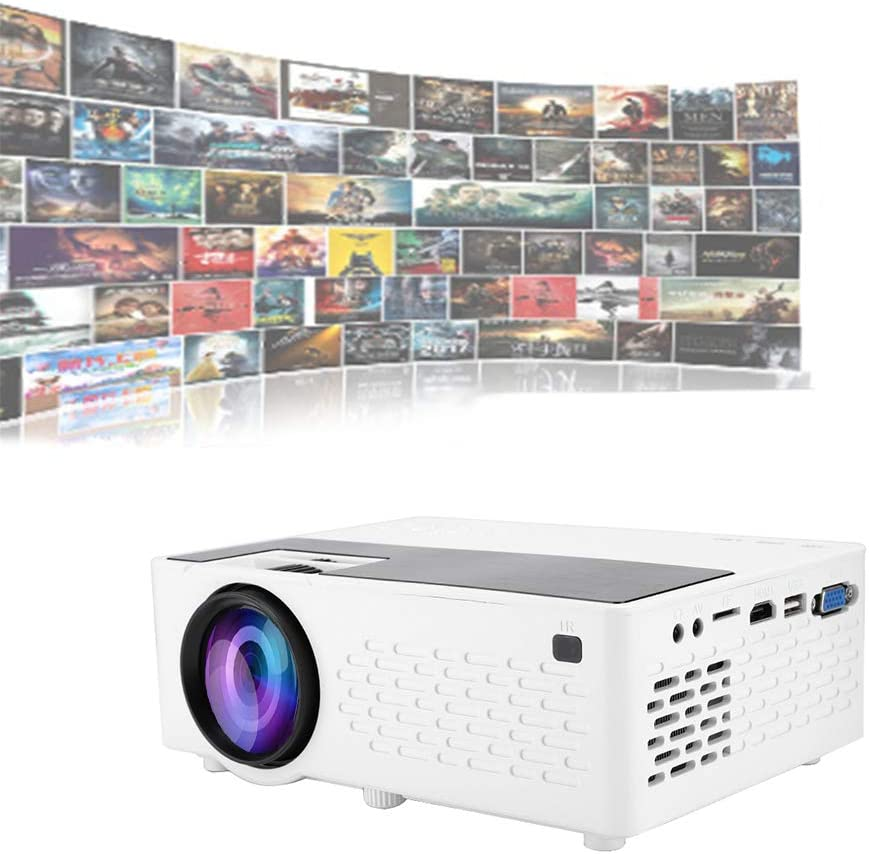 WiFi Projector,Mini Projector,Wireless Screen Mirroring,Portable Mini Projector,1080P HD Movie Projector Compatible with Smartphones TF Card USB HDMI VGA for Home Theater (US Plug)