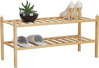 "BAMFOX 2-Tier Shoe Rack,Bamboo Stackable Shoe Storage Organizer Unit Entryway Shelf,27.2""x11""x13.2"" in Natural Color"