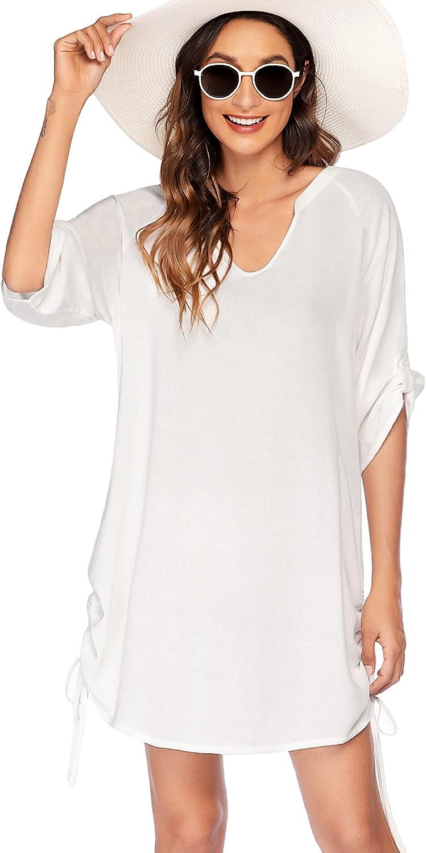Avidlove Swimsuit Cover Ups for Women Beach Cover Up Shirt Casual V Neck Bathing Suit Beach Dress