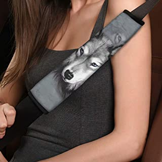 NDISTIN Gray Wolf Seat Belt Covers Multifunction Strap Cushion Mat Seatbelt/Backpack Shoulder Pads Soft Comfortable Car Ac...