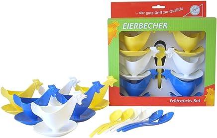 """Preisvergleich für Frühstücks-Set """"Eierbecher Huhn"""" 6 Eierbecher und 6 Eierlöffel je 2 x blau, 2 x weiß, 2 x gelb im Geschenk-Set DDR Eierbecher"""