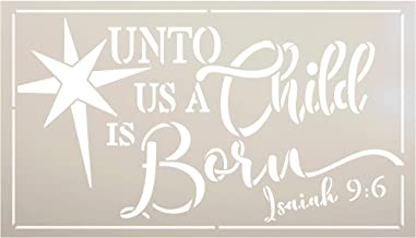 Unto Us A Child is Born Stencil with Star by StudioR12 | Bible Verse Isaiah 9:6 Christmas Decor | Reusable Mylar Template | Paint Wood Signs | DIY Home Crafting | Select Size (17