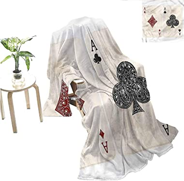 "Miles Ralph Lifestyle Blanket Sofa Blanket Ace of Diamonds Gambling Bedroom Blanket 50""x30"""