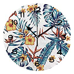 AmaUncle Print Round Wall Clock, 10 Inch Tropics Pattern Spring Summer Background with Tropical Flowers Palm Quiet Desk Clock for Home,Office,School SW99300