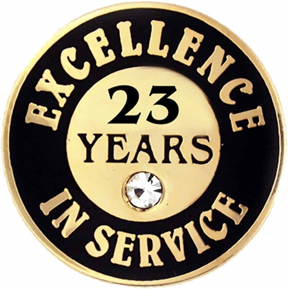 PinMart Gold Plated Excellence in Service 23 Year Award Lapel Pin