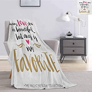 Luoiaax Valentines Day Fluffy Blanket Microfiber Every Love Story is Beautiful but Ours is My Favorite Romantic Idea Super Soft Fuzzy Elegant Blanket W57 x L74 Inch White Black Pink