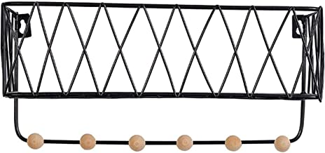 Drijvende plank opbergrek met haak omhoog, metalen houten muurbevestiging displaystandaard voor boek plantenpot kunstwerk...