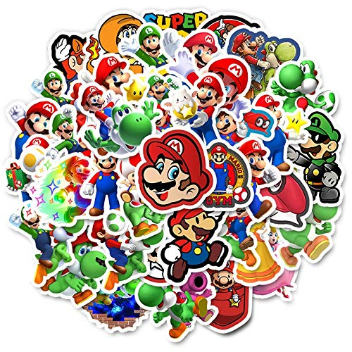 50PCS Not Repeat Super Mario Game Waterproof Sticker For DIY Laptop Bike Suitcase Phone Kids Room Wall Decor Funny Joy Sticker