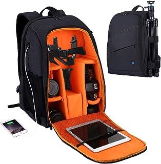 PULUZ Camera Backpack Waterproof Shockproof Camera Bag with rain Cover for DSLR SLR Cameras Lenses 15.6in Laptop Tablet Ph...