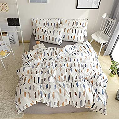 BuLuTu Feather Teen Duvet Cover Set Queen White Cotton Premium Lightweight 3 Pieces Kids Boys Girls Bedding Sets Full Zip Zipper With Ties,Love Gifts for Her,Him,Men,Women,Friend,Family,NO Comforter