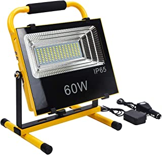 FISHNU Rechargeable Led Flood Lights,60Watts Led Work Light,Portable Stand Working Lights for Construction Site,Home,Garage,Garden,Car Emergency Flashing Lights