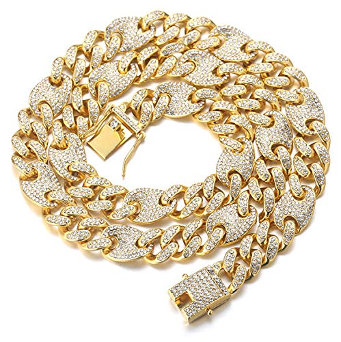 Halukakah Gold Chain for Men Iced out,13MM Men's Cuban Link Chain Miami...