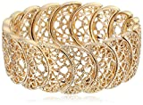 1928 Jewelry Gold-Tone Filigree Stretch Bracelet