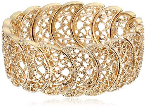 1928 Jewelry Gold-Tone Filigree Stretch Bracelet
