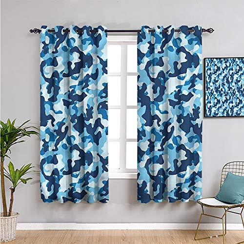 Pcglvie Forro de cortina opaca de camuflaje, cortinas de 99 cm de largo con diseño de tono azul para mantener un buen sueño de 54 cm de ancho x 39 pulgadas de largo.