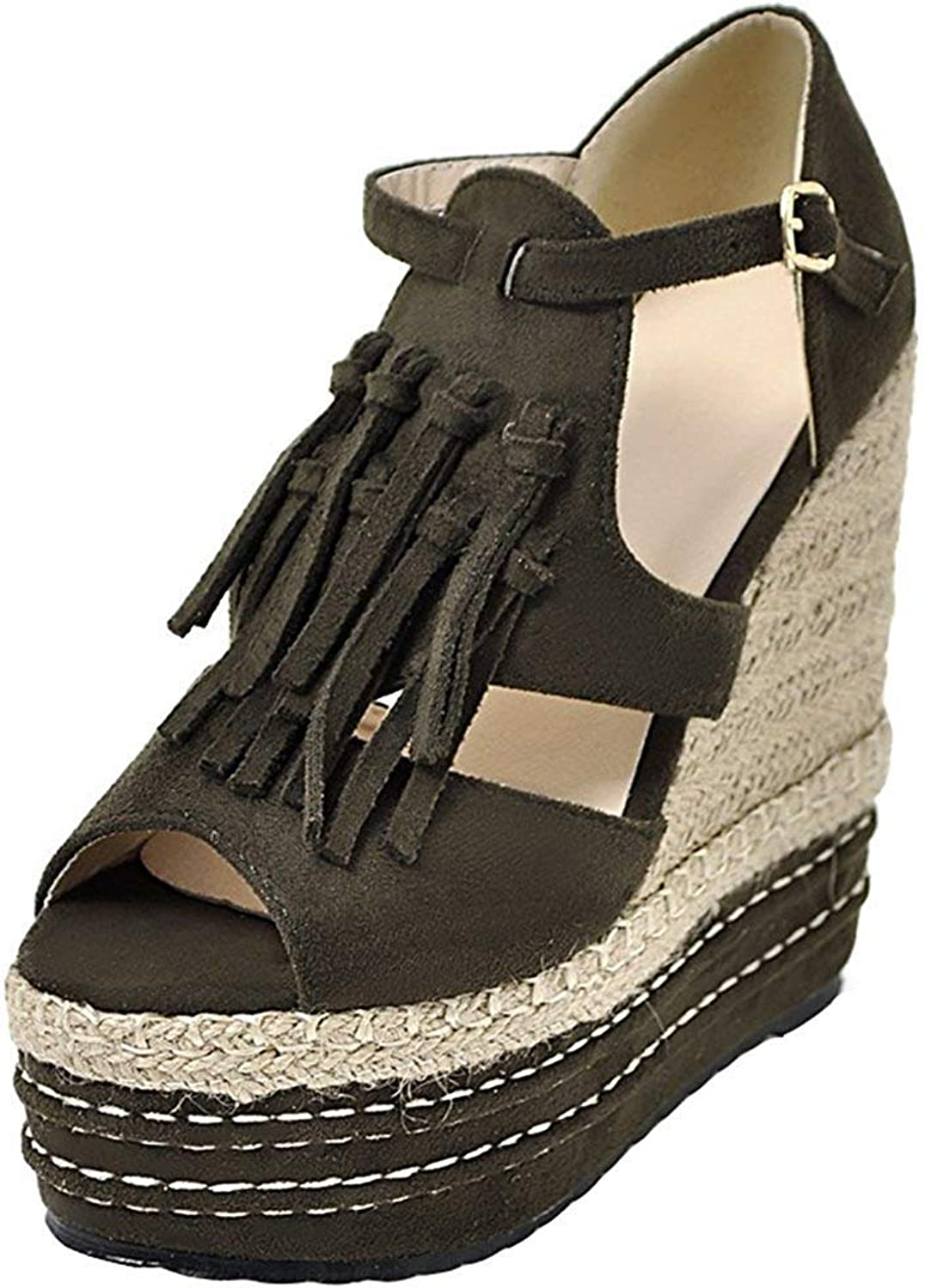 Lelehwhge Women's Stylish Fringed Peep Toe High Wedge Heels Platform Buckle Strap Sandals Army Green 4.5 M US