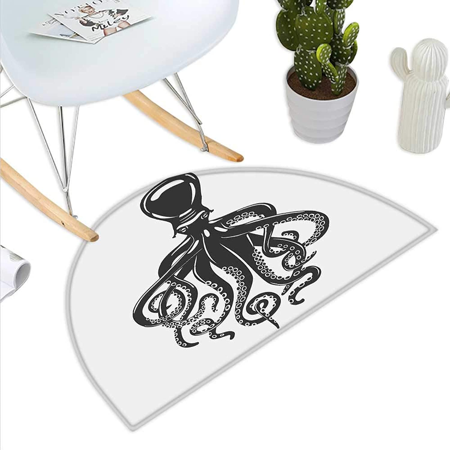 Octopus Semicircle Doormat Animal with Contemporary Design Nautical Aquatic Character Illustration Halfmoon doormats H 39.3  xD 59  Charcoal Grey White