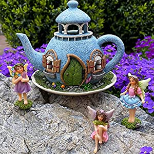 mood lab fairy garden miniature teapot house kit figurines and accessories set of 4 pcs 71 inch tall house