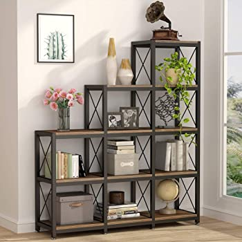 Tribesigns 12 Shelves Bookshelf, Industrial Ladder Corner Bookshelf 9 Cubes Stepped Etagere Bookcase, Rustic 5-Tier Display Shelf Storage Organizer for Home Office (Rustic Brown)