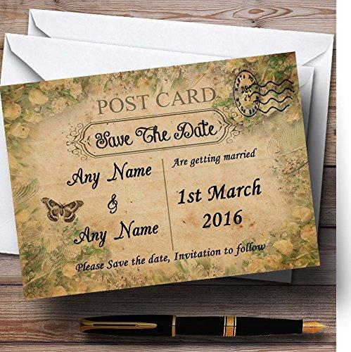 Bewaar de datumkaarten witte rozen Vintage Shabby Chic ansichtkaart gepersonaliseerd met enveloppen - Elke aangepaste tekst voor elke gelegenheid 30 Cards & Envelopes Kleur: wit