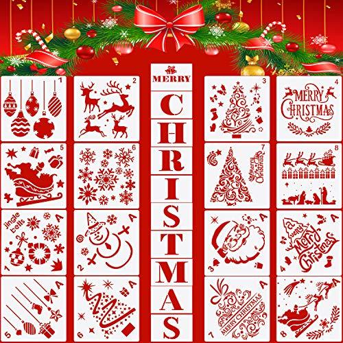 26 Piezas Plantillas de Navidad Plantillas de Pintura Plantillas de Artesanías Plástico Reutilizables de Letras Navidad Árboles Navidad Santa Renos para DIY Decoración de Navidad