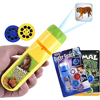 Wenosda Projector Torch kid Projection Flashlight Lighting Story Torches Light Toy Slide Lamp Educational Learning Bedtime Night Light for Children (48 Images) (Space + Animal)