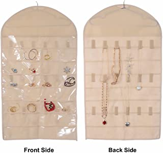 Pockets and Hooks Dual Sided Non Woven Jewelry Necklace Earrings Bracelets Rings Accessories Hanging Storage Organizer Bag Wall Mounted Hanger Holder Clear Display Collapsible (32 Pockets-Ivory)