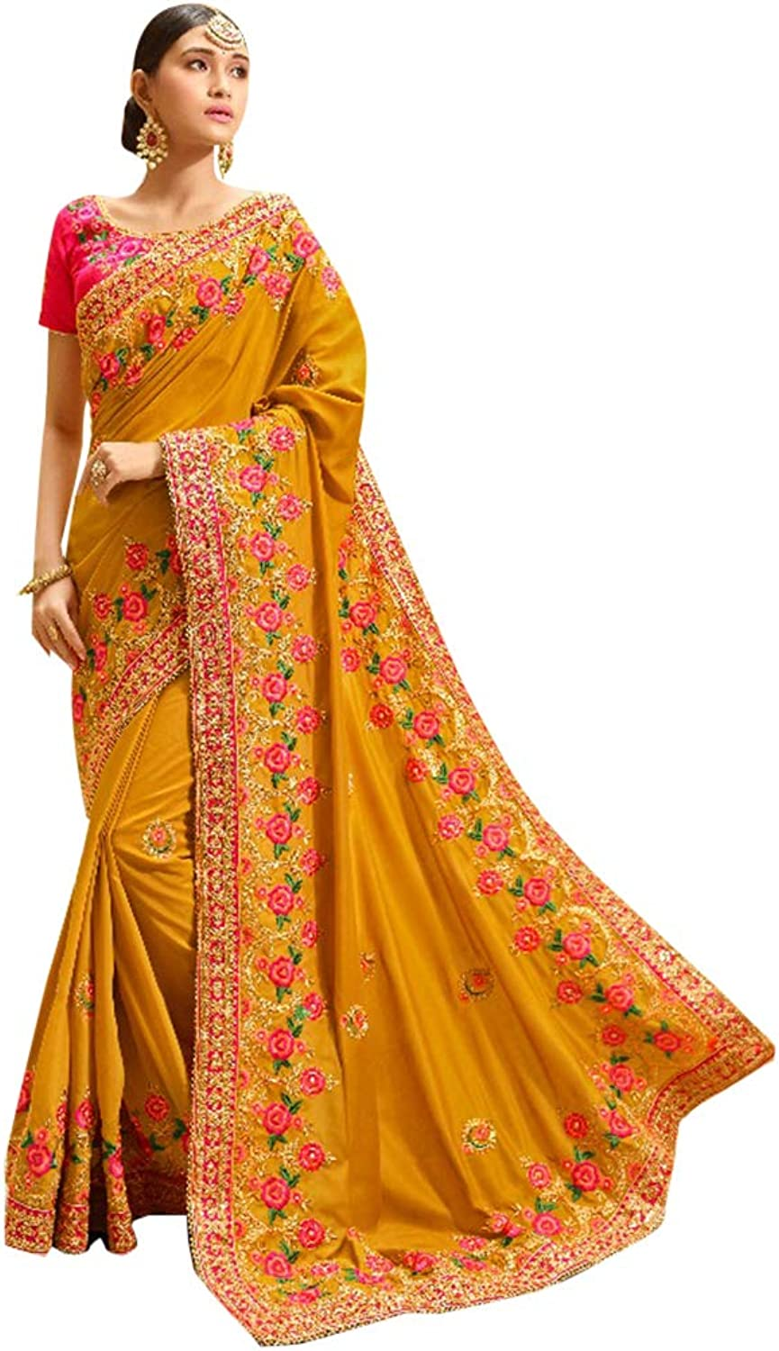 Mustard Silk Party Wear Collection of Designer Saree with Stylish Heavy Border Contrast Blouse Sari Indian Ethnic Women 754