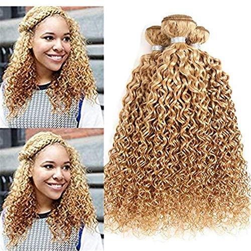 AEHAIR Human Haarverlängerung 8A Brasilianisch Virgin Kinky Gelockt Echthaar Tressen 100% Unverarbeitet Haar Farbe 27# Honig Blond 1 Stück (95-100g/Stück), 18
