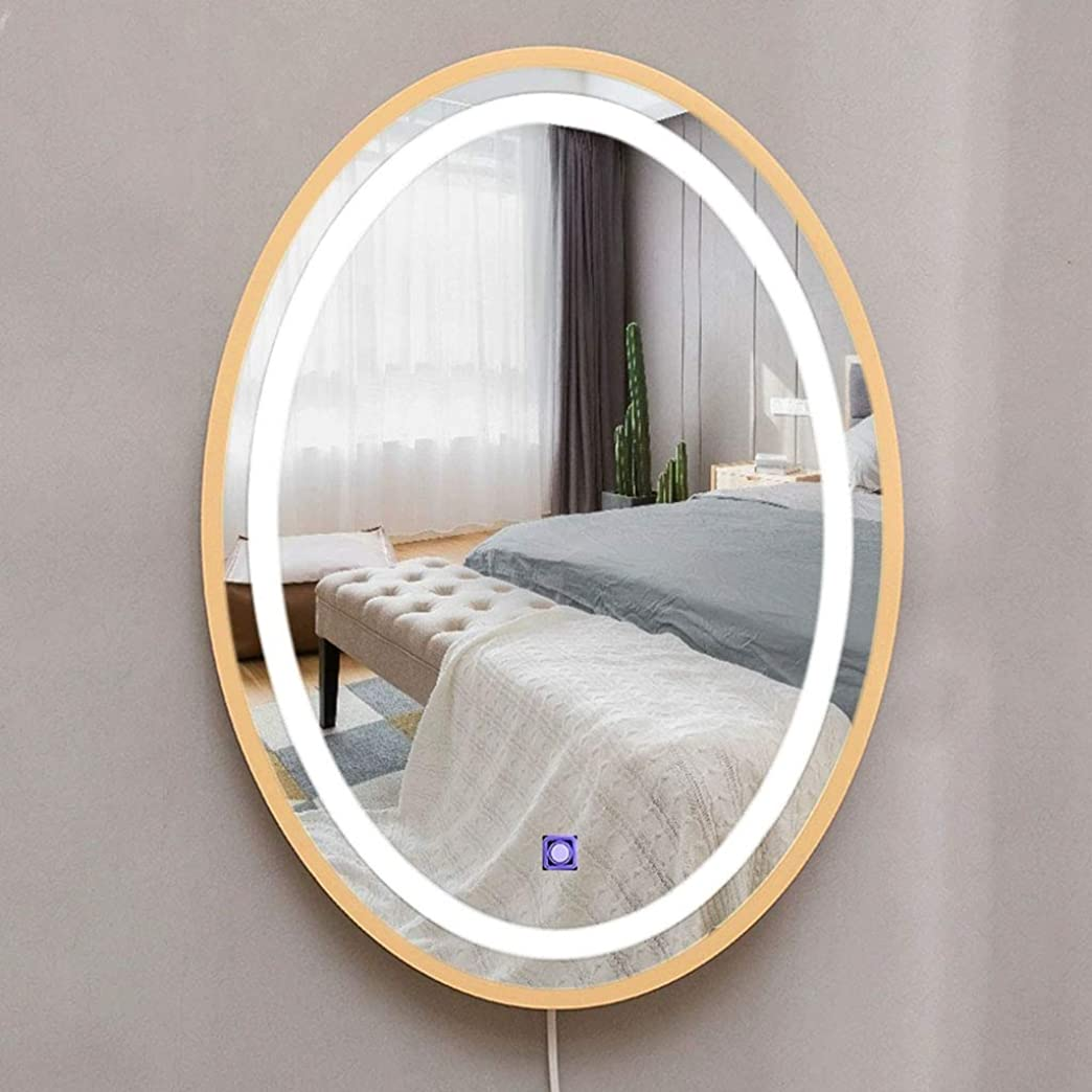 浴室ミラー、接触のLEDの壁に取り付けられた装飾的なミラー 冷たくて暖かい光を照らす楕円形の純木の国境53x39cm