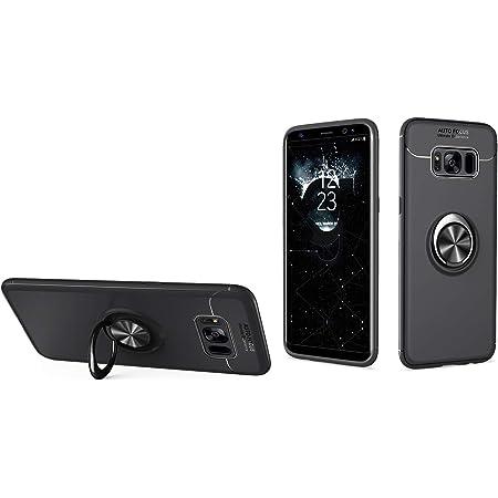 Galaxy S8 SC-02J/SCV36保護ケース ギャラクシーS8 背面ケース SC-02Jケース SCV36ケースカバー Zouzt TPU 軽量 リング付き スタンド 車載ホルダー 360度 耐衝撃 指紋防止 シンプル 6色 ブラック+ブラック