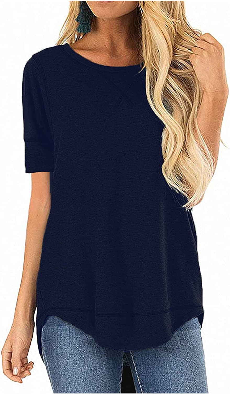 YunYou Womens Short Sleeve T Outlet ☆ Free Shipping Shirts Tops Tunic Co Fixed price for sale Loose Crewneck
