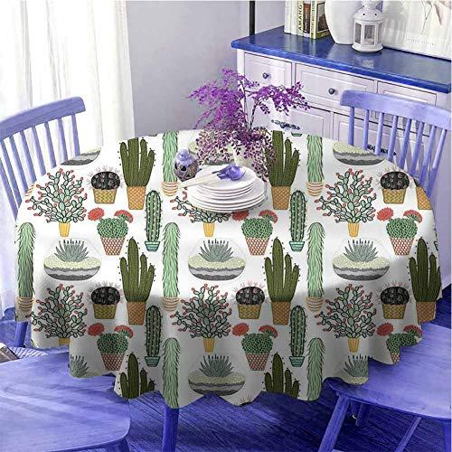 Cactus - Mantel redondo para cocina, diseño de plantas suculentas y cactus, en macetas, diseño floral mexicano, uso diario, diámetro 129,5 cm, multicolor