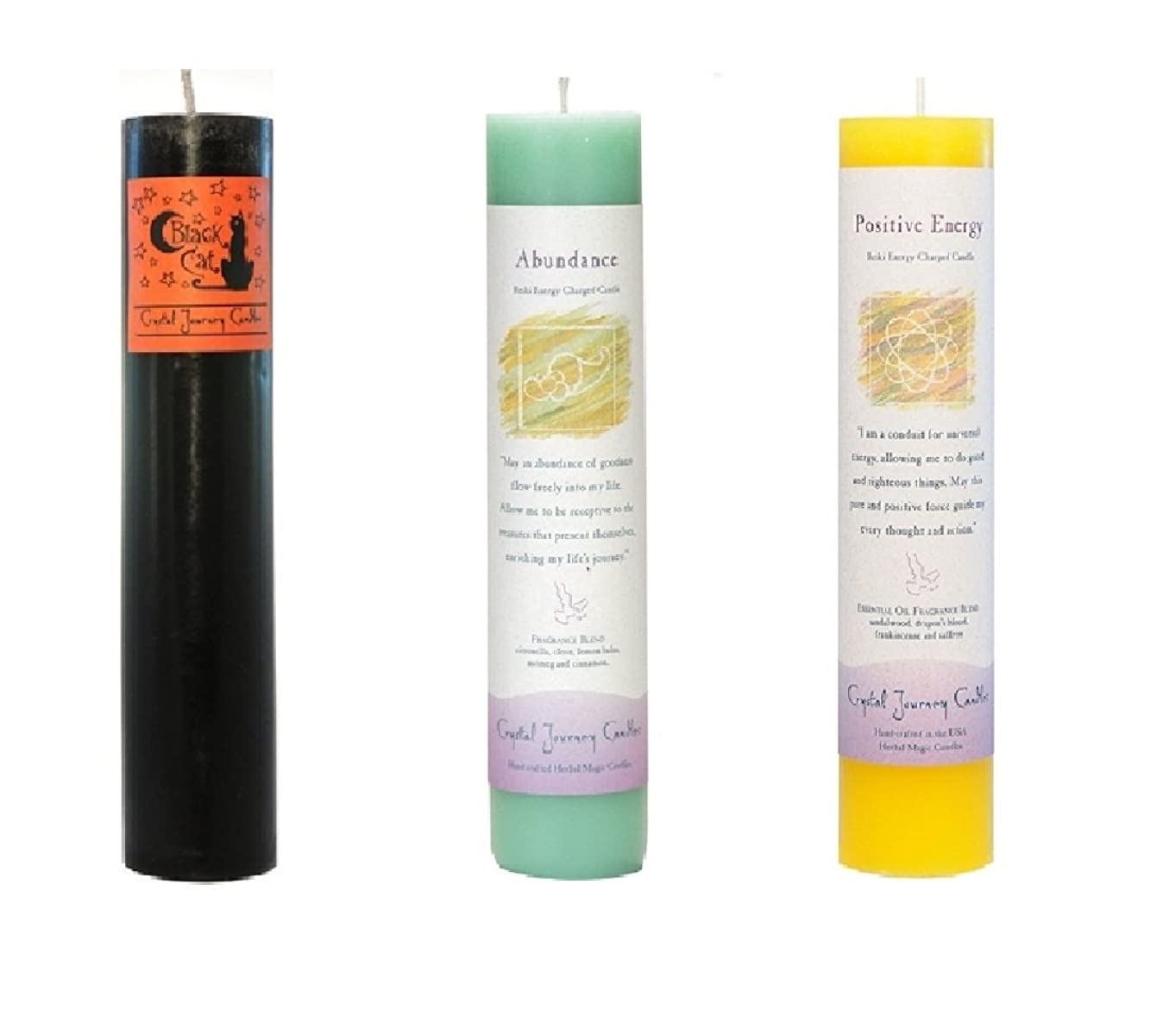 カーフ影のあるタンカー(Black Cat, Abundance, Positive Energy) - Crystal Journey Reiki Charged Herbal Magic Pillar Candle Bundle (Black Cat, Abundance, Positive Energy)