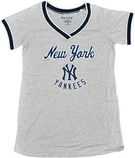 New York Yankees SAAG Women Maternity Beige Tri-Blend V-Neck T-Shirt
