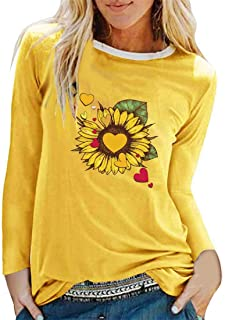 Womens Long Sleeves T-Shirts Casual Basic Lightweight Tops Classic Round Neck Tunic Blouses Stylish Printed Sporty Spring ...