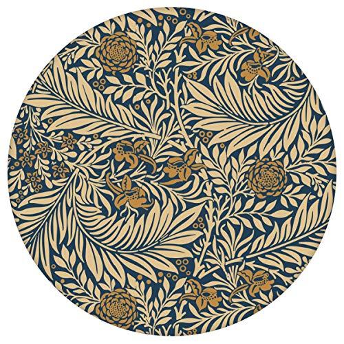"""Edle Jugendstil Tapete\""""Délice florale\"""" nach William Morris, dunkelblau beige Vlies-Tapete Blumen Ornament, großer Rapport Wanddeko GMM Ornamenttapete, Wohnakzent für Wohnzimmer (Muster 20 x 46,5cm)"""