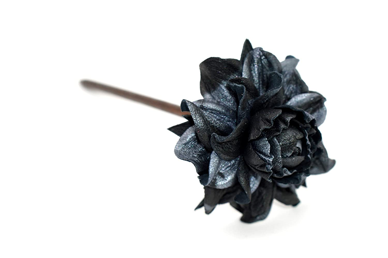 Yak Lialia Genuine Leather Flower 1 year warranty Rose Black New sales Woode 2.5