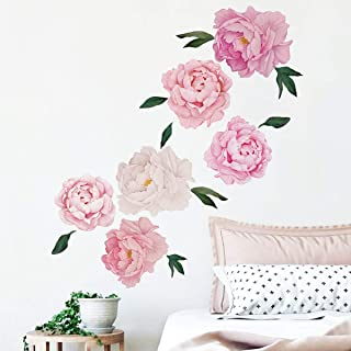 Runtoo Flower Wall Decals Peony Rose Wall Stickers Floral Wall Art Home Decoration Living Room Bedroom TV Wall Décor for Baby Nursery
